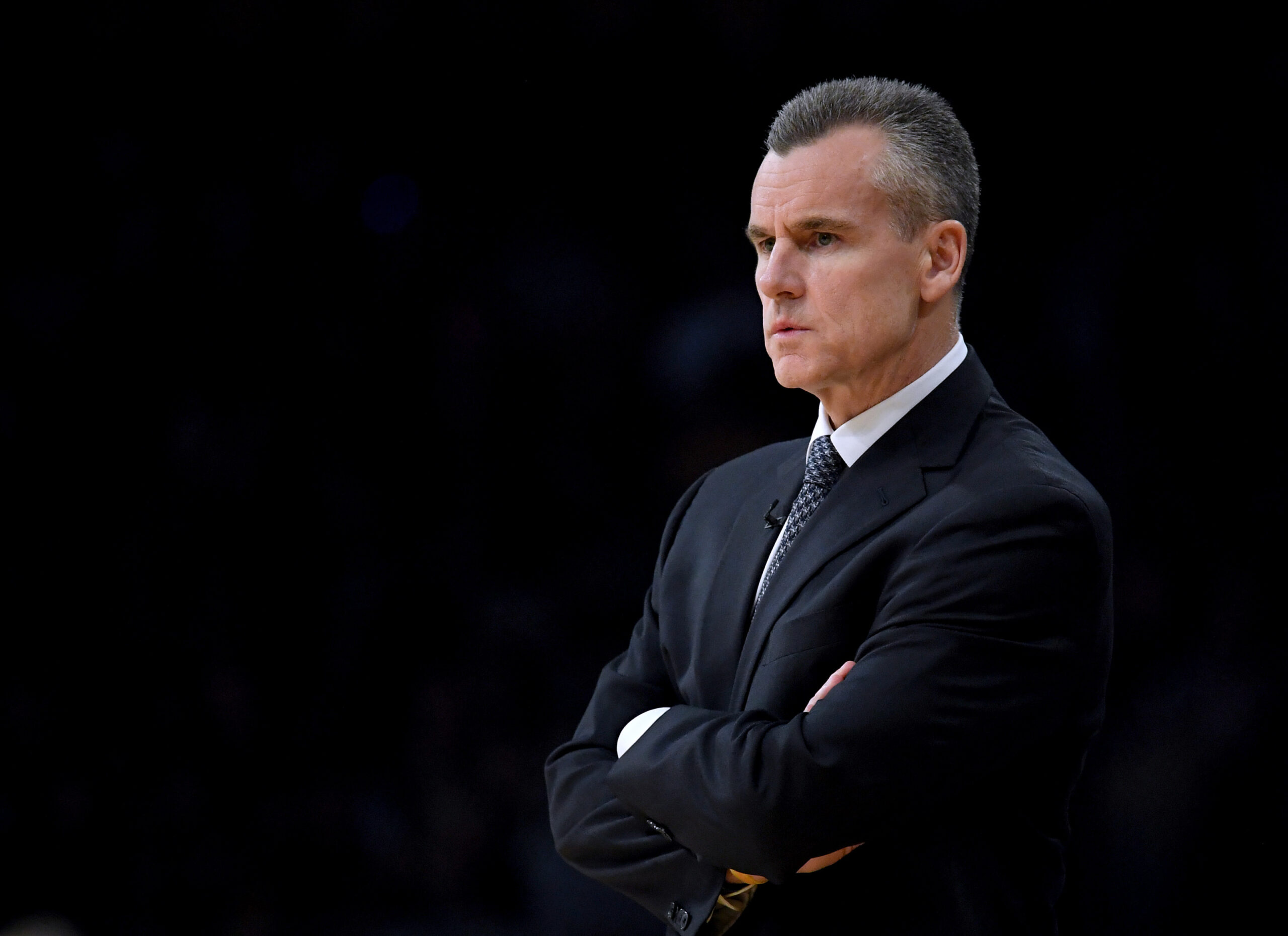 LOS ANGELES, CALIFORNIA - JANUARY 02: Billy Donovan of the Oklahoma City Thunder watches play from the sidelines during a 107-100 win over the Los Angeles Lakers at Staples Center on January 02, 2019 in Los Angeles, California. NOTE TO USER: User expressly acknowledges and agrees that, by downloading and or using this photograph, User is consenting to the terms and conditions of the Getty Images License Agreement. (Photo by Harry How/Getty Images)